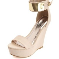 Metal-Plated Single Strap Platform Wedge by Charlotte Russe - Nude