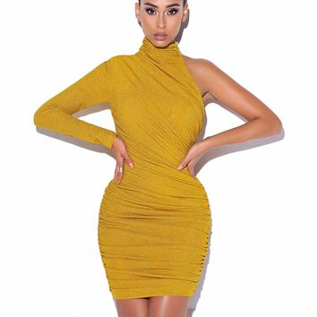 Starlight Gold Metallic One Sleeve Dress