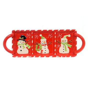 Tabletop SNOWMAN RELISH TRAY Ceramic Winter's Frost 1788120