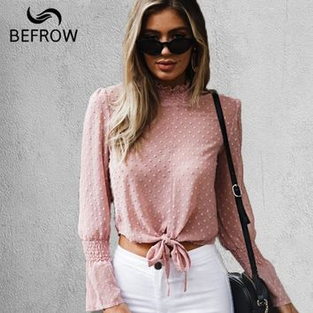 BEFORW Sexy Perspective Long Sleeves Blouse Shirt Crop Top Bow Women Blouses Tops Print Chiffon Turtleneck Shirts Women Clothes