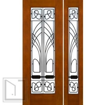 "Prehung Prehung 2-1/4"" Thick Art Nouveau Mahogany Door Sidelite Low-E Glass Iron Work"