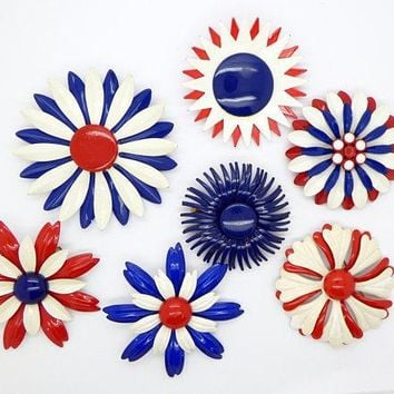 Red, White and Blue Patriotic Enamel Flower Pins, 7 pins