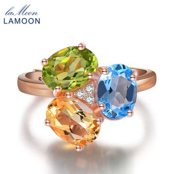 LAMOON 3 Colors Oval Stone Citrine& Peridot & Topaz 925 sterling-silver-jewelry Wedding Party Rings for Women Fine Jewelry RI002