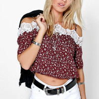 Open Shoulder Lace Patchwork Floral Print Crop Top
