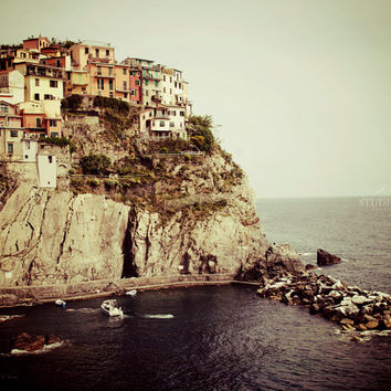 Cinque Terre Photograph, Italy Wall Art, Manarola, Travel Photography, Italian Riviera Village, Seaside, Houses, Nautical Home Decor, Europe
