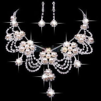 Taoqiao  Plated Silver Rhinestone Earring Crystal Pearl Necklace Jewelry Set For Wedding (Size: One Size, Color: Pink) = 1932554820