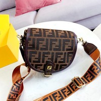 Free shipping-Fendi Vintage Classic Double F Logo Chest Bag Waist Bag Saddle Bag