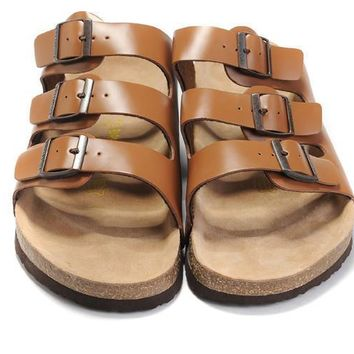 2017 New STYLE Birkenstock Summer Fashion Leather Cork Flats Beach Lovers Slippers Casual Sandals For Women Men Couples Slippers size 36-45-2