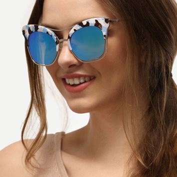 Multicolor Cat Eye Blue Lenses Sunglasses [6240905412]