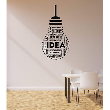 Vinyl Wall Decal Idea Lightbulb Success Words Office Space Decoration Stickers Mural (ig5703)