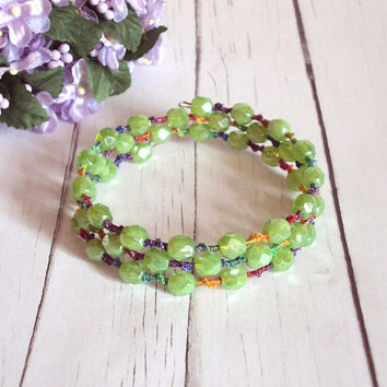 Green Memory Wire Bracelet - Tatted Rainbow Lace Bracelet - Beaded Tatting - Multi Wrap - Adjustable - Maia - One of A Kind