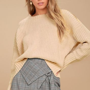 Bear Hug Light Beige Knit Sweater