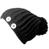 Luxury Divas Black Giant Pom-Pom Knit Beanie Cap Hat With Button Trim