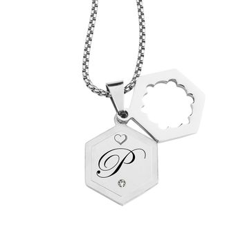 Double Hexagram Initial Necklace with Cubic Zirconia by Pink Box - P