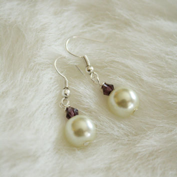 Small Pearl Earrings - Amethyst and Ivory - Hypoallergenic - Nickel Free Hooks