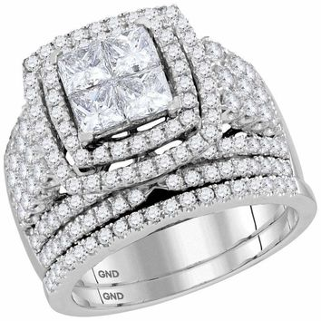 14kt White Gold Women's Princess Diamond Halo Bridal Wedding Engagement Ring Band Set 3.00 Cttw - FREE Shipping (US/CAN)