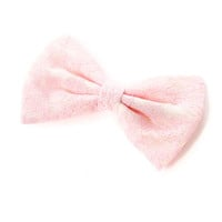 Pink Lace Overlay Bow Hair Clip