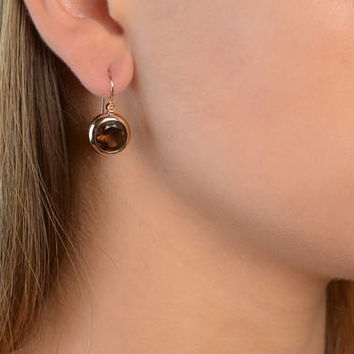 Drop Earrings Handmade Round Smoky Topaz Drop Earrings in 14K Rose Gold Wire back with hook and lever