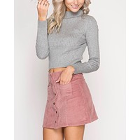 corduroy button down mini skirt with pockets - rose