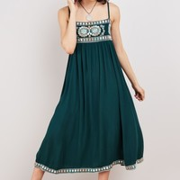 Haliana Teal Embellished Mumu Dress
