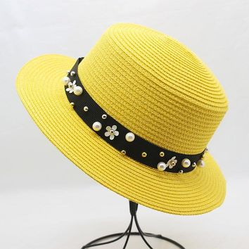 07edb388361 Women Beach CAPS Sun Visor Hats Straw Panama Hats for Lady Elega