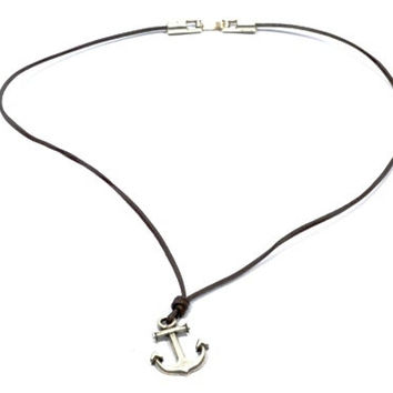 anchor necklace * anchor choker necklace * anchor pendant * mens necklace * surfer style necklace * nautical necklace * nautical jewelry