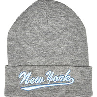 River Island Womens Grey New York beanie hat