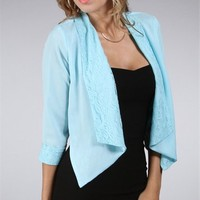 Sale-Mint Lace Collar Cropped Blazer