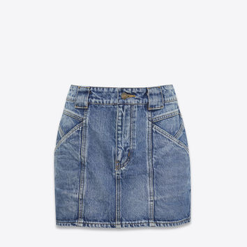 Mini skirt in faded blue denim