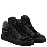 Giuseppe Zanotti Gz Doris Black Suede Mid-top Sneaker With Black Crystals - Best Deal Online