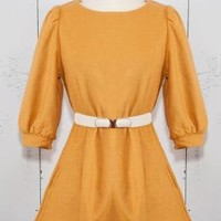 Retro Occupation 3/4 Sleeve Mini Dress with Pockets in Mustard | Sincerely Sweet Boutique