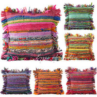 "LARGE SELECTION - 16"" CHINDI DECORATIVE SOFA PILLOW CUSHION COVER Boho Indian Bo"