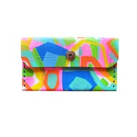 Neon Leather Wallet, Rainbow Leather Pouch, Small Abstract Art Bag, Business Card Holder | Boo and Boo Factory - Handmade Leather Jewelry
