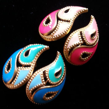 Avon Vintage Aqua Blue & Pink Earrings, Set of 2,  Chunky Jewelry 50's 60's Collectibles Mad Men Mod Designer Signed Accessories