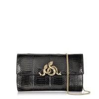 Roberto Cavalli Designer Handbags Serpent Black Elaphe Clutch