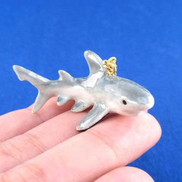 3D Porcelain Great White Shark Shaped Ceramic Pendant Necklace