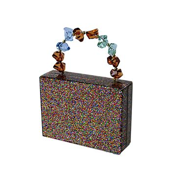 Colorful Glitter Acrylic Box Clutch with Acrylic Rock Handle
