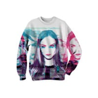 CARA DELEVINGNE GLITCH SWEATSHIRT created by ctrlaltdesign | Print All Over Me