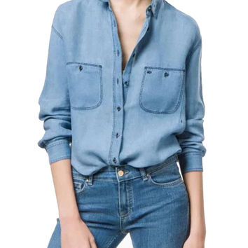 Blue Pocket Long Sleeve Denim Shirt Collar Blouse