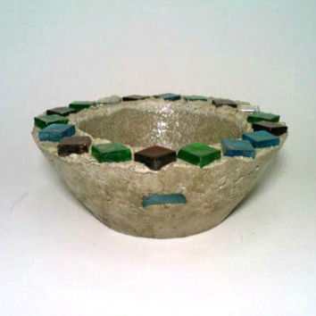 Concrete Bowl, Glass Bowl, Fire Bowl, Trinket Holder. Bird Feeder, Candy Dish. Succulent Bowl