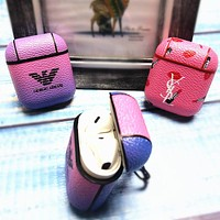 GIORGIO ARMANI & YSL women's tide brand personality wild airpods1/2 generation protective cover wireless Bluetooth headset leather case