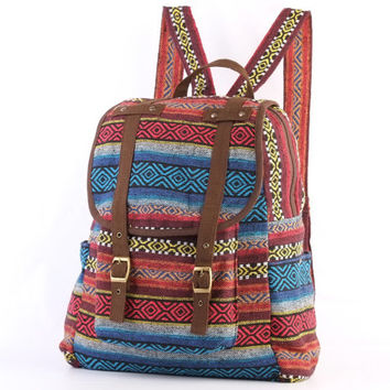 Aztec Backpack Travel Bag Woven Cotton Textile, Southwestern, Boho, Hippie, Unisex