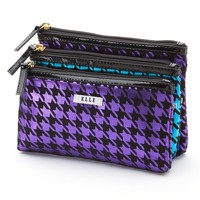 ELLE Cosmetics 3-pc. Houndstooth Cosmetic Bag Set