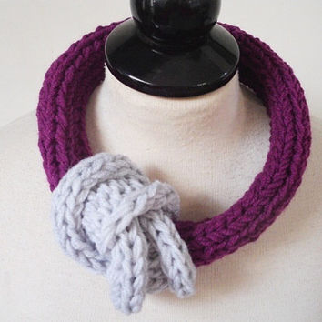 Yarn jewelry Scarf necklace Gift for her Knit jewelry Winter accessory Necklace scarf Unusual jewelry Big bold chunky necklace Chic necklace