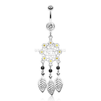 Daisy Glam Dreamcatcher Belly Button Ring (Clear)