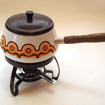 Vintage fondue pot / set. Brabantia Holland. Retro Orange Brown geometric pattern. Dutch Kitchenware Bayon Design 70s party