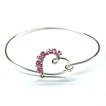 Pink Crystal Wire Wrapped Heart Bangle in Sterling Silver