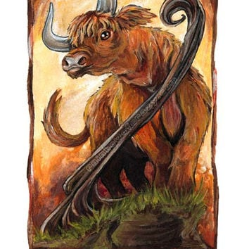 Tarot Card Art, Bull Print, King of Wands, Highland Cattle Picture, 8x10 Wall Art, Pagan Decor, Animal Illustration, Animism Tarot Deck