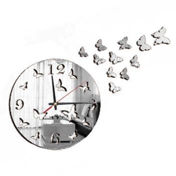 Butterfly Mirror Modern Decoration Cuddly Wall Clock