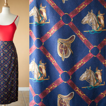 Vintage Horse Print Skirt | Faux Wrap Skirt High Waisted Skirt Equestrian 80s skirt Bit & Bridle Polo Gold Chains Baroque Skirt Maxi Preppy